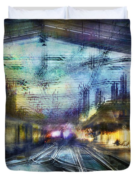 Duvet Cover featuring the photograph Cityscape #37 - Crossing Lines by Alfredo Gonzalez