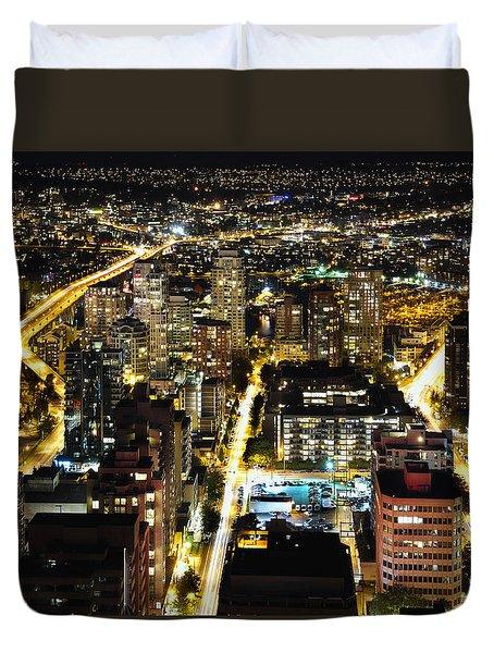 Duvet Cover featuring the photograph Cityscape Golden Burrard Bridge Mdlxiv by Amyn Nasser