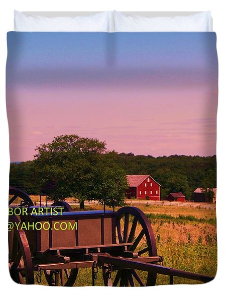 Civil War Caisson At Gettysburg Duvet Cover by Eric  Schiabor