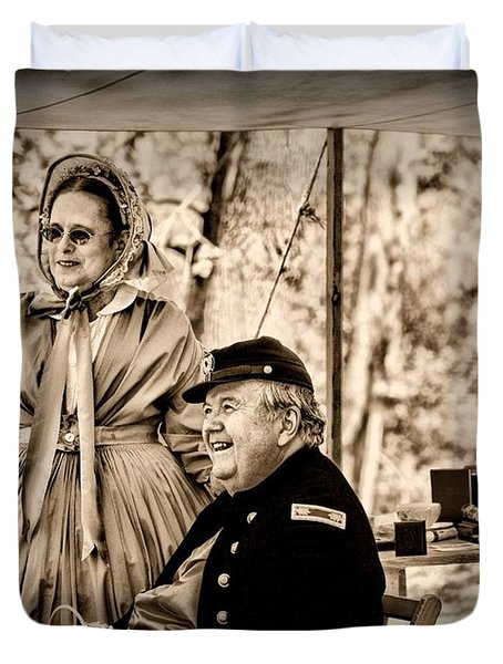 Civil War Officer And Wife Duvet Cover by Paul Ward