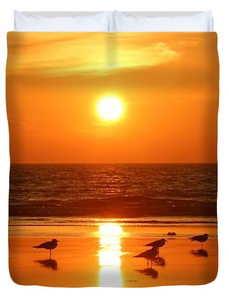 Clam Digging At Sunset - 2 Duvet Cover