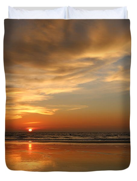 Clam Digging At Sunset - 4 Duvet Cover