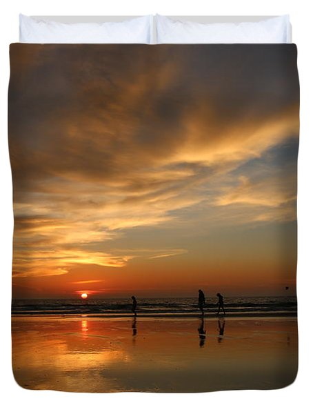 Clam Digging At Sunset -1  Duvet Cover