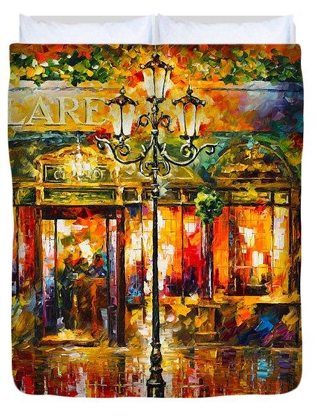 Clarens Misty Cafe Duvet Cover by Leonid Afremov