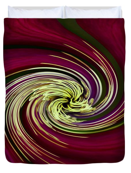 Duvet Cover featuring the photograph Claret Red Swirl Clematis by Debbie Oppermann