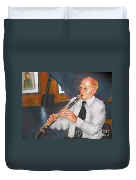 Clarinet At Palm Court Duvet Cover