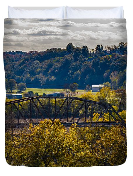 Clarksville Railroad Bridge Duvet Cover