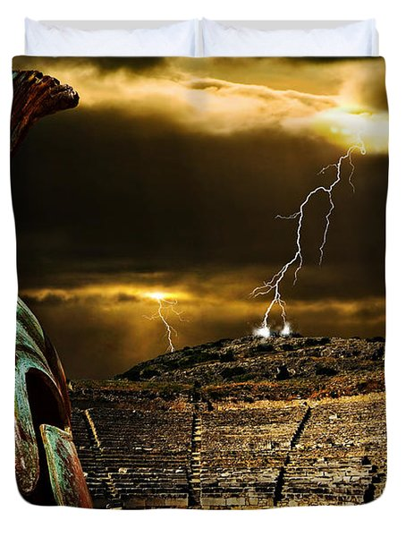 Duvet Cover featuring the photograph Clash Of The Titans by Meirion Matthias