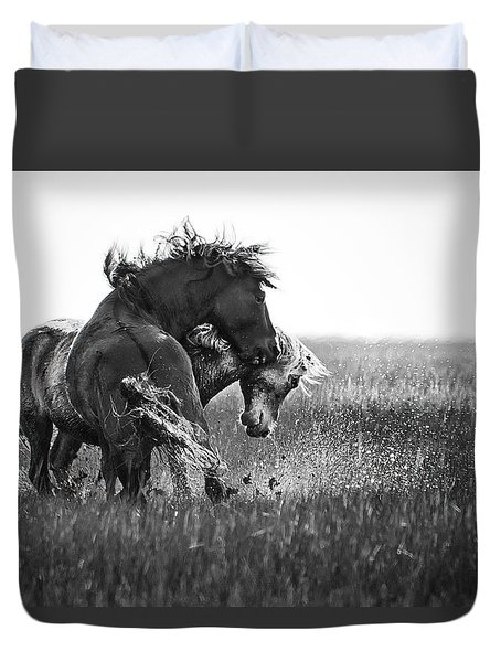 Duvet Cover featuring the photograph Clash Of Two Wild Stallions by Bob Decker