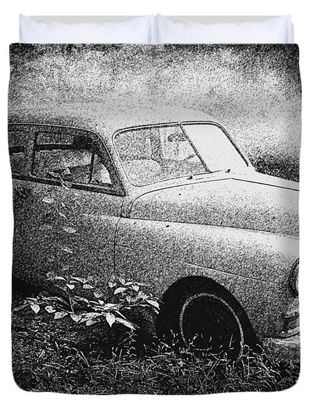 Clasic Car - Pen And Ink Effect Duvet Cover by Brian Wallace