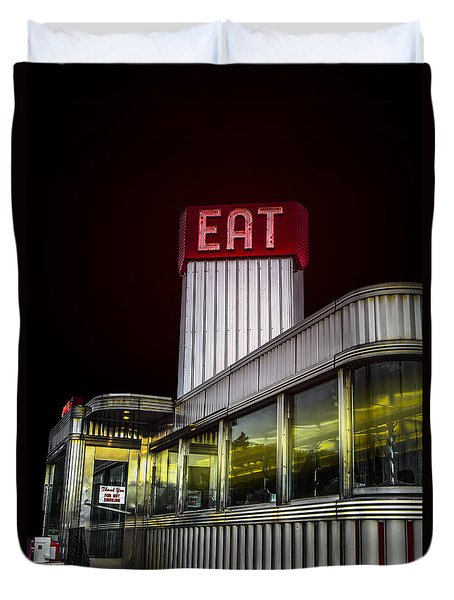 Classic American Diner At Night Duvet Cover by Diane Diederich