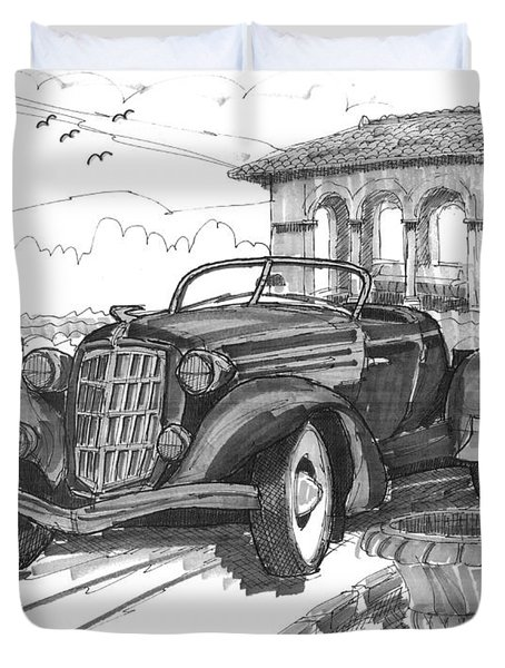 Classic Auto With Formal Gardens Duvet Cover