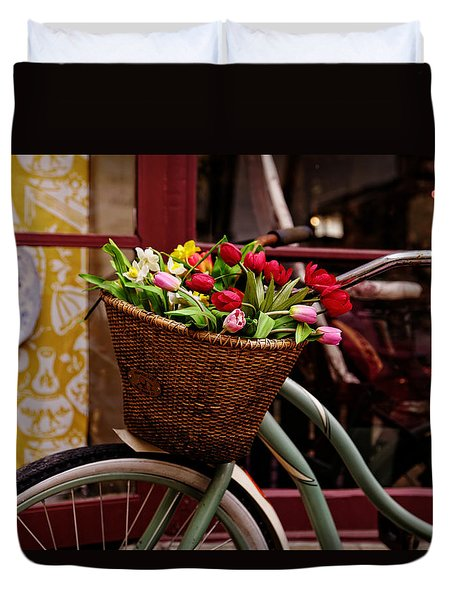 Classic Bike With Tulips Duvet Cover