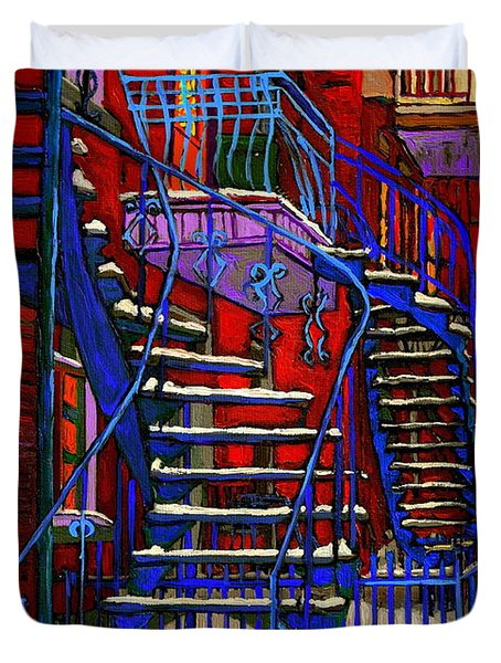 Classic Blue Winding Staircase Montreal Winter City Scene Painting  By Carole Spandau Duvet Cover by Carole Spandau