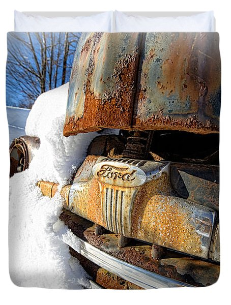 Classic Ford Pickup Truck In The Snow Duvet Cover by Edward Fielding