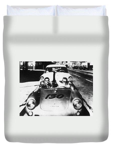 Classic James Dean Porsche Photo Duvet Cover by Georgia Fowler