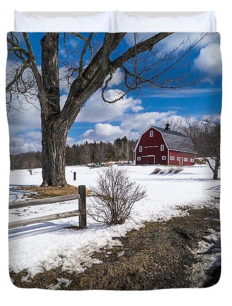 Classic New England Farm Scene Duvet Cover