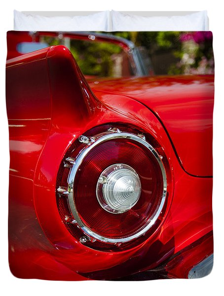 Duvet Cover featuring the photograph 1957 Ford Thunderbird Classic Car  by Jerry Cowart