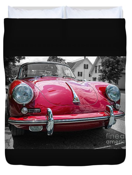 Classic Red Sports Car Duvet Cover