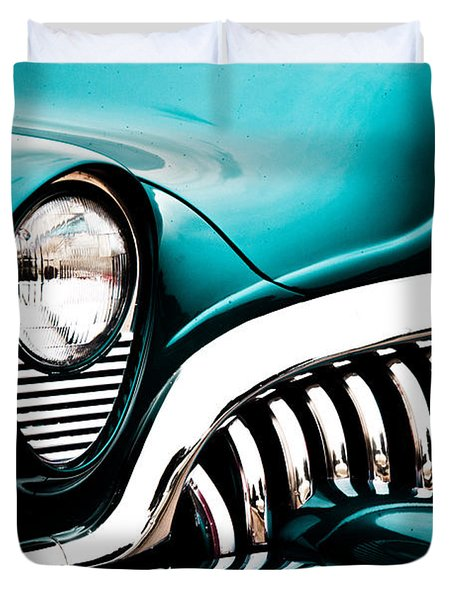 Classic Turquoise Buick Duvet Cover