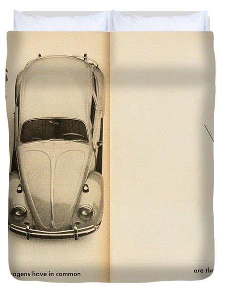 Classic Volkswagen Beetle Vintage Advert Duvet Cover by Georgia Fowler