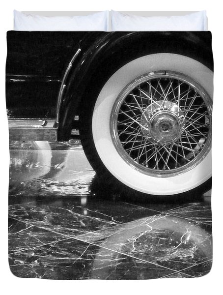 Duvet Cover featuring the photograph Classic Wheels Blk And Wht by Cheryl Del Toro