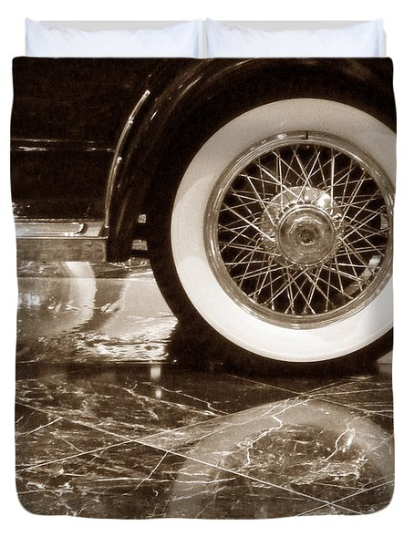 Duvet Cover featuring the photograph Classic Wheels Sepia by Cheryl Del Toro