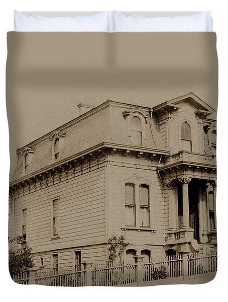 Clay And Hyde Street's San Francisco Built In 1874 Burned In The 1906 Fire Duvet Cover by California Views Mr Pat Hathaway Archives