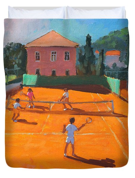 Clay Court Tennis Duvet Cover by Andrew Macara