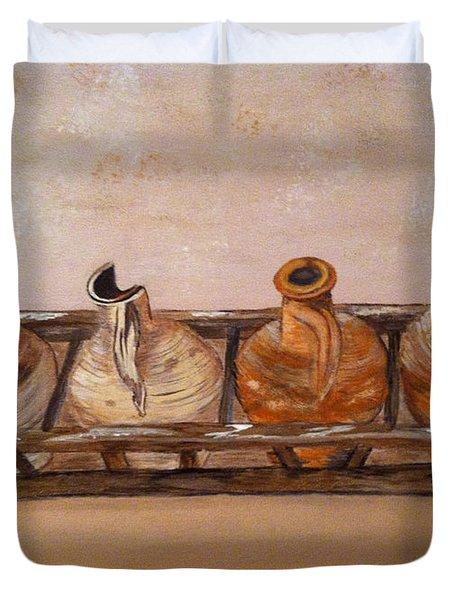Clay Jugs In A Row Duvet Cover by Brenda Brown