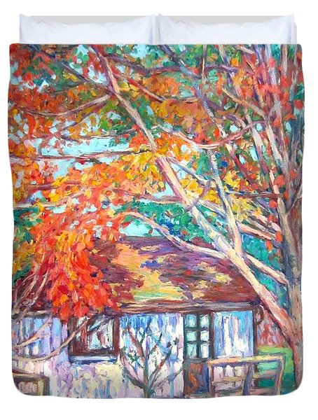 Claytor Lake Cabin In Fall Duvet Cover