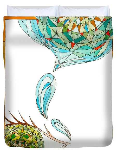 Duvet Cover featuring the drawing Cleansing Tears by Dianne Levy
