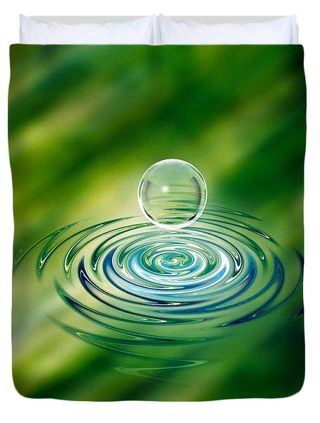 Clear Bubble Rising From Ripples Duvet Cover
