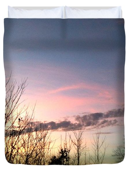 Duvet Cover featuring the photograph Clear Evening Sky by Linda Bailey