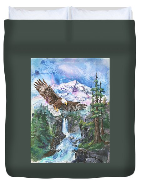 Duvet Cover featuring the painting Cleared For Landing Mount Baker by Sherry Shipley