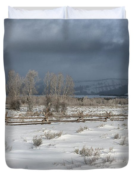 Clearing Storm In The Tetons Duvet Cover by Sandra Bronstein