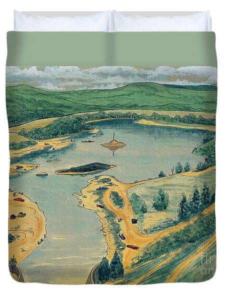 Duvet Cover featuring the painting Clearwater Lake Early Days by Kip DeVore