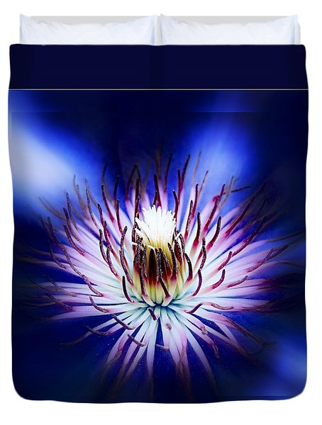 Duvet Cover featuring the photograph Clemantis Center by Nick Kloepping