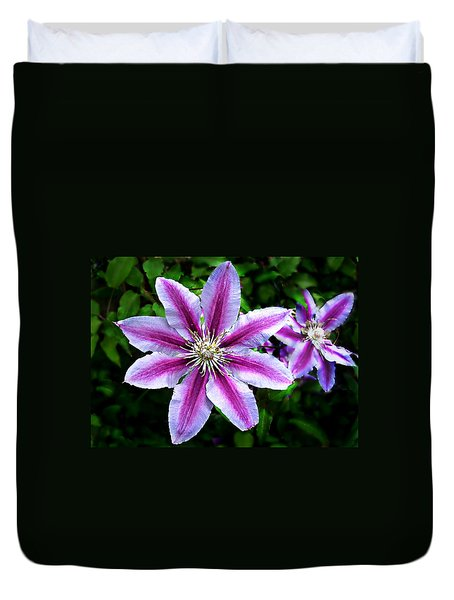 Duvet Cover featuring the photograph Clematis ' Dr. Ruppel '   R H S / A G M  by William Tanneberger