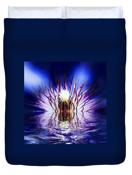 Duvet Cover featuring the photograph Clematis Rising by Nick Kloepping