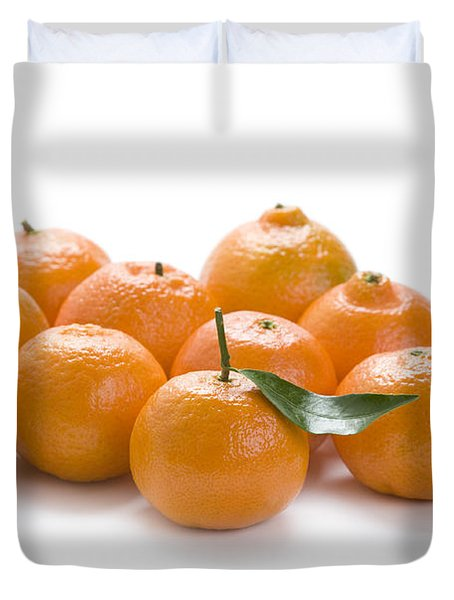 Duvet Cover featuring the photograph Clementine Oranges On White by Lee Avison
