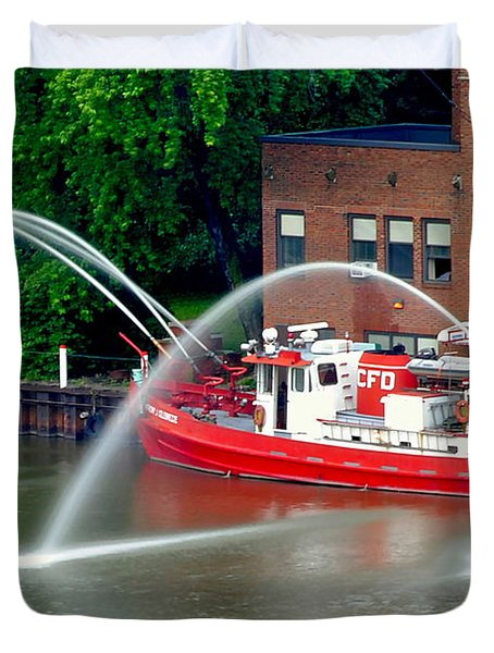 Cleveland Firehouse Duvet Cover by Frozen in Time Fine Art Photography