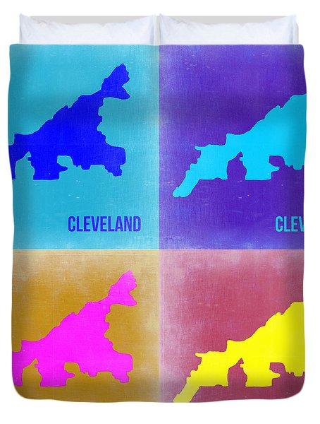 Cleveland Pop Art Map 2 Duvet Cover by Naxart Studio