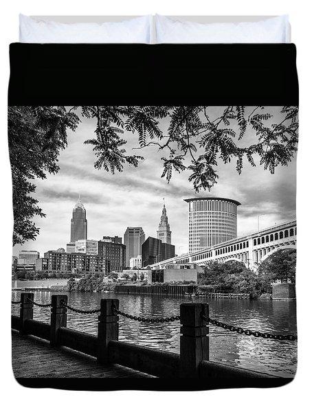 Cleveland River Cityscape Duvet Cover