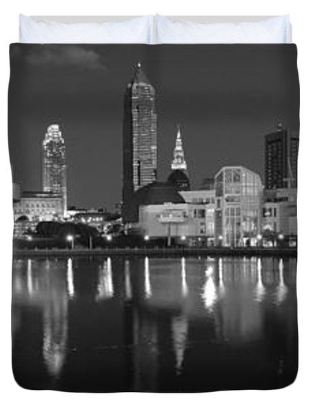 Cleveland Skyline At Dusk Black And White Duvet Cover by Jon Holiday