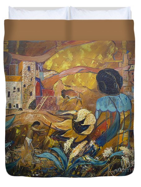 Duvet Cover featuring the painting Cliff Dwellers by Avonelle Kelsey