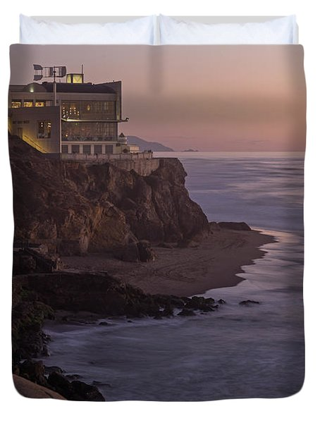 Duvet Cover featuring the photograph Cliff House Sunset by Kate Brown