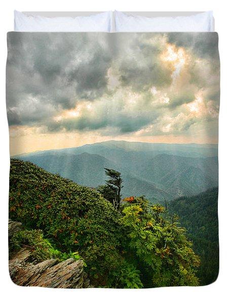 Cliff Tops At Mt. Leconte Gsmnp Duvet Cover