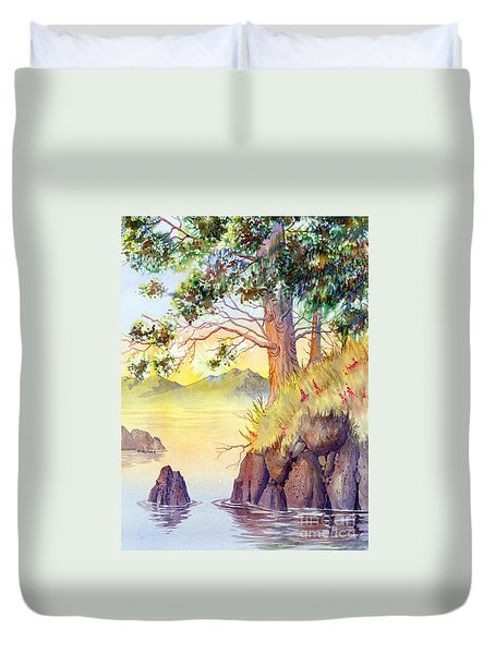 Duvet Cover featuring the painting Cliff Trees by Teresa Ascone