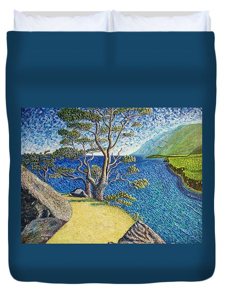 Duvet Cover featuring the painting Cliff by Viktor Lazarev